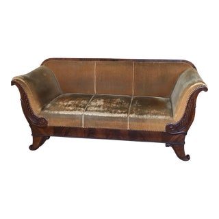 French Mohair and Mahogany Antique Sofa