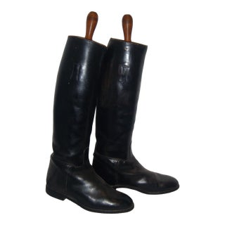 Black Leather Riding Boots Equestrian Decor - Pair