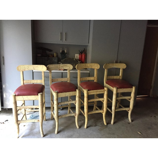 Image of Wood & Vinyl Barstools - Set of 4