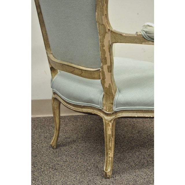 Vintage French Louis XV Style Distress Paint Carved Bergere Chair - Image 7 of 11
