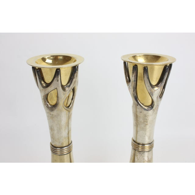 "Image of 2 Brass & Silverplate ""Tree of Life"" Candleholders"