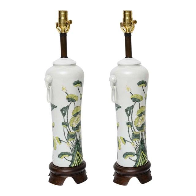 1960s Japanese Porcelain Lotus Flower Vase Form Table Lamps - Image 1 of 9