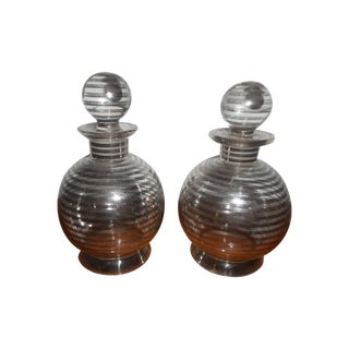 Sterling Silver Overlay Perfume Bottles - Pair