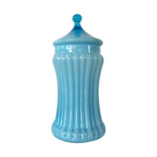 Powder Blue Fluted Canister