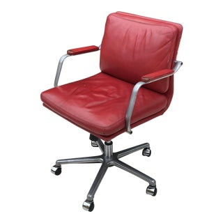 Red Leather Industrial Office Chair