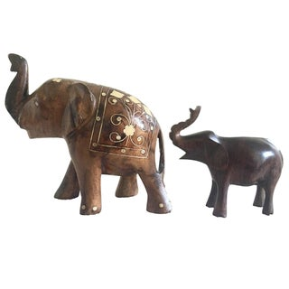 African Wooden Elephants - a Curated Pair