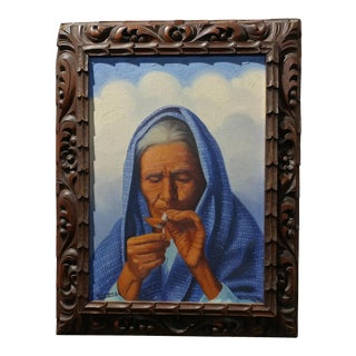 "Marquez ""Pueblo Woman Lighting a Cigarette"" Oil Painting"