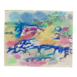 Erle Loran Abstract Oil Pastel Painting