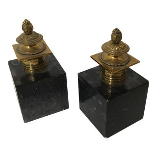 Hollywood Regency Style Black Marble & Brass Bookends- A Pair