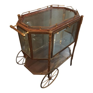 Beveled Glass & Bronze Vitrine Bar Cart
