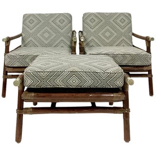 1950's Ficks Reed 8-Piece Rattan Seating Suite by John Wisner - Set of 3