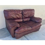 Image of Klaussner Overstuffed Bonded Leather Loveseat
