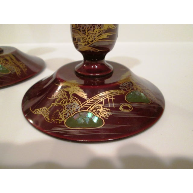 22k & Abalone Inlaid Candle Holders - Pair - Image 3 of 6