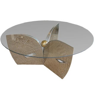 "Mid-Century ""Atomic"" Chrome & Glass Coffee Table"