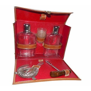 1960's Leather Traveling Bar Set