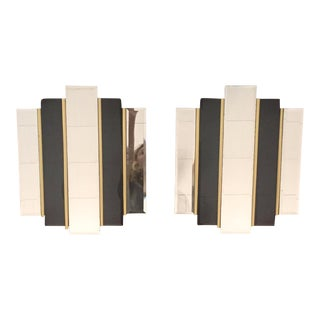 Art Deco Abstract Brass Black Skyscraper Mirrors - A Pair