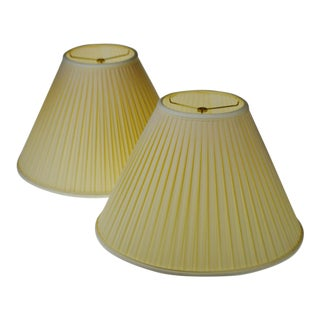 Vintage Pleated Fabric Tapered Lamp Shades - A Pair