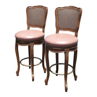 Vintage French Provincial Leather & Cane Bar Stools - A Pair