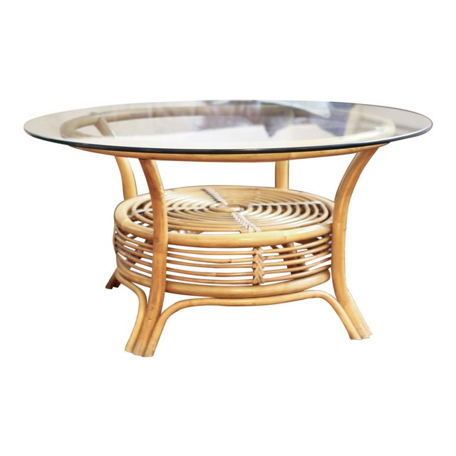 Round Rattan Bamboo Pencil Reed Glass Top Coffee Table Chairish