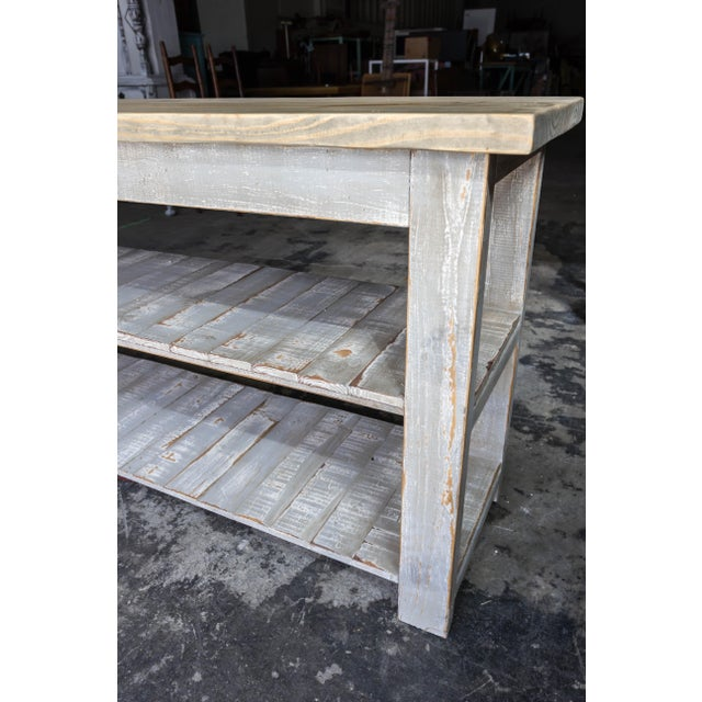 Gray Reclaimed Wood Console Two Shelf Table With Light Distress - Image 6 of 8