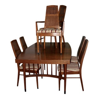 Mid-Century Modern Expandable Dining Table With 6 Cane Back Chairs