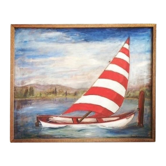 Vintage Mid-Century Sailboat Painting - Image 1 of 4