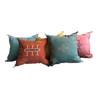 Moroccan Sabra Cactus Silk Pillows - Set of 5