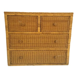 Vintage Rattan & Au Natural Wicker Chest 4 Drawer Console