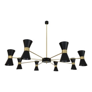 Large Italian chandelier with conical lampshades