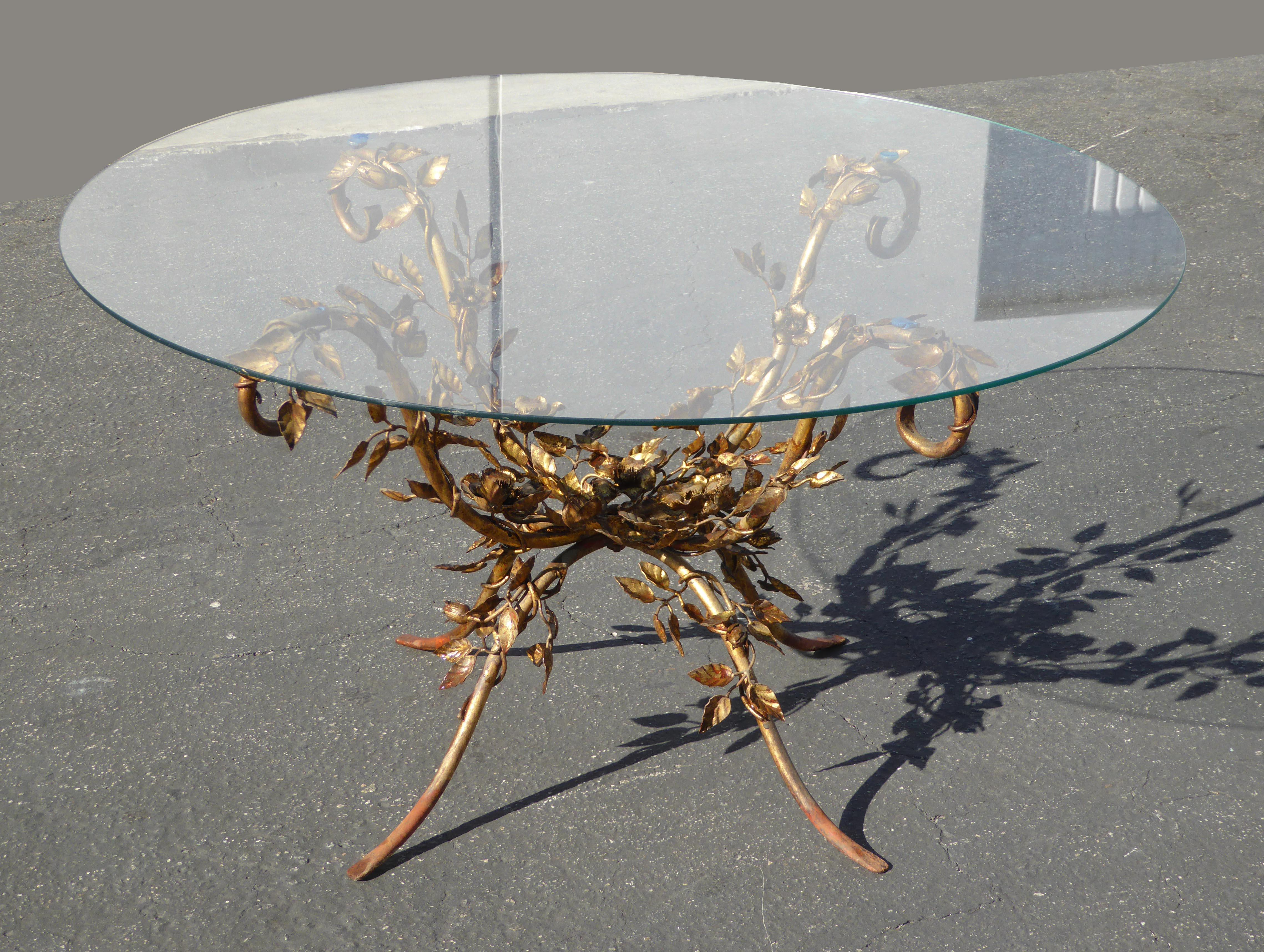 vintage french provincial ornate rococo gold coffee table italian
