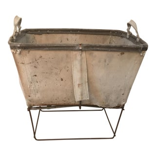 Vintage Industrial Canvas Bin with Metal Stand