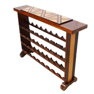 Large Wine Rack with Inlaid Wood Decoration