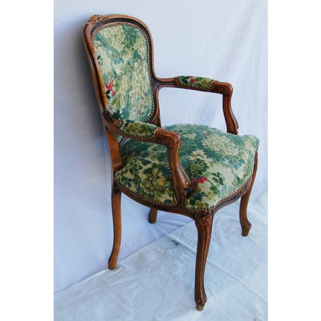 Scalamandre Marly Velvet Tapestry Upholstered Walnut Armchair - Image 7 of 10