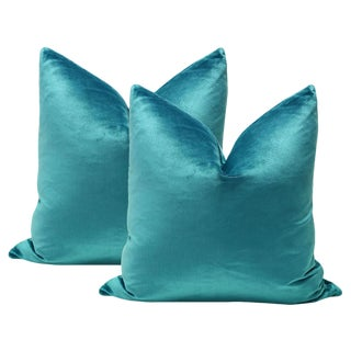 "22"" Italian Silk Velvet Pillows In Caribbean - A Pair"