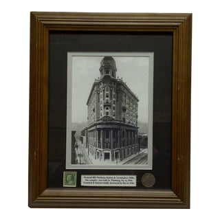 "Original 1908 Framed & Matted Multi-Media Collage ""Wabash Railroad Station & Terminal"""