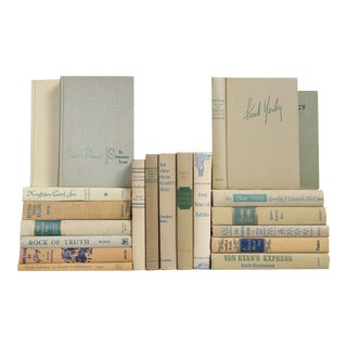 Flax Mid-Century Blue & Green Accented Book Mix - Set of 20