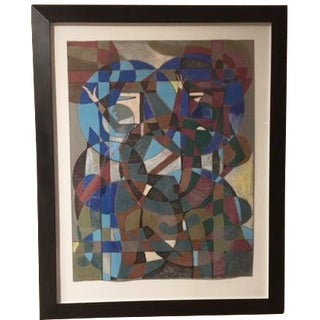 """Aoe"" Mid-Century Abstract Painting"