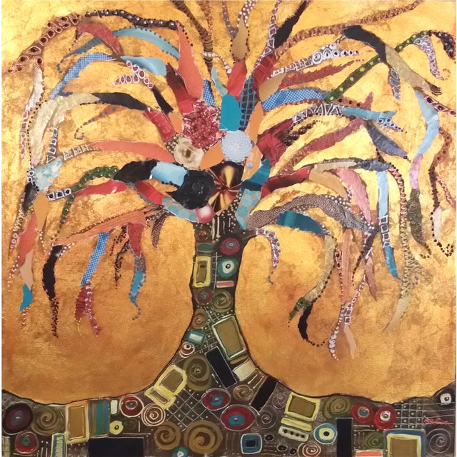 "Klimt Inspired ""Tree of Life"" Gold Leaf Collage - Image 1 of 7"