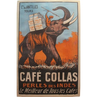 1927 Cafe Collas Elephant French Coffee Poster