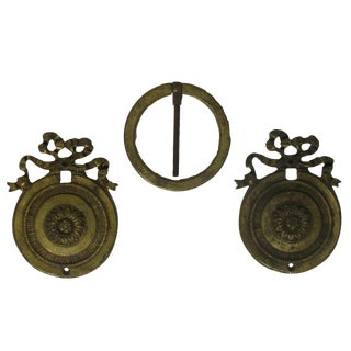 Antique French Bronze Round Mounts - Set of 3