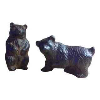 Vintage Brass Bear Figurines - A Pair