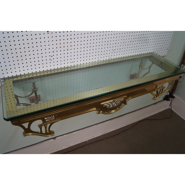 Vintage Brass & Glass Wall Shelf - Image 8 of 10
