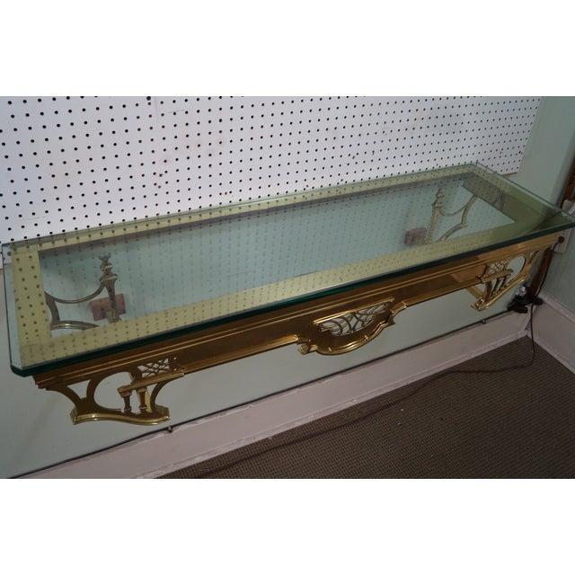Image of Vintage Brass & Glass Wall Shelf