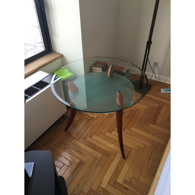 Architectural Design Wood & Glass Side Table - Image 4 of 8