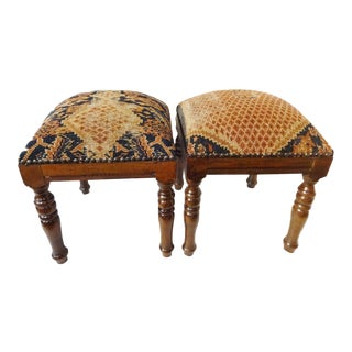 Square Antique Hamadan Rug Wood Stools - A Pair