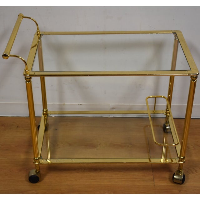 Hollywood Regency Brass Bar Cart - Image 3 of 11