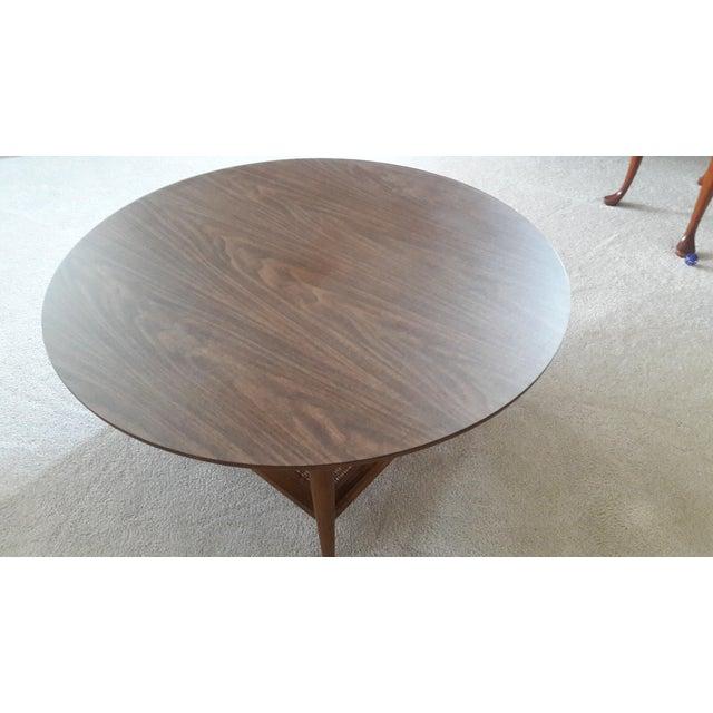 Lane 1960s Round Wicker Shelf Coffee Table