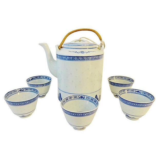 Rice Grain Porcelain Tea Pot & Cups - Set of 6 - Image 5 of 7
