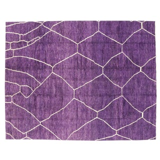"Contemporary Purple Moroccan Style Rug - 10'5"" X 13'3"""