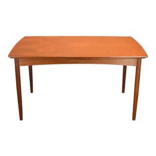 Refinished Danish Teak Curved-Edge Extension Dining Table c.1950s